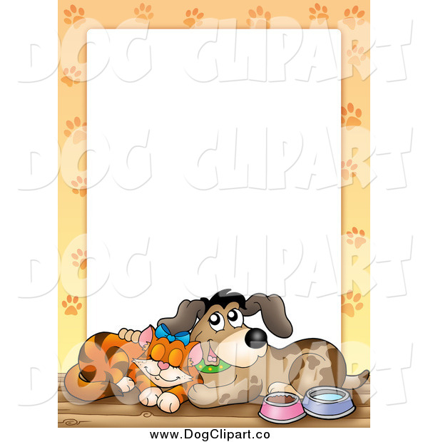 Vector Clip Art of a Cuddling Cat and Dog with Paw Prints Around White Space