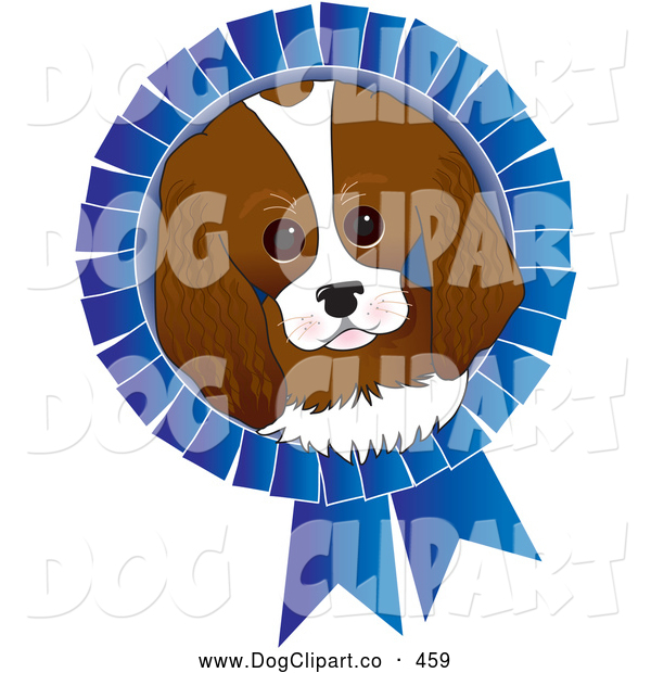 Vector Clip Art of a Cute Adorable King Charles Spaniel Dog Face on a Blue Prize Ribbon for a Dog Show