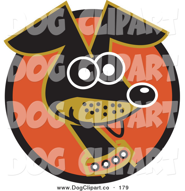 Vector Clip Art of a Cute and Alert Daschund Dog Wearing a Collar and Panting on a Circle