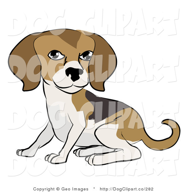 Vector Clip Art of a Cute Beagle Dog Sitting and Looking Forward