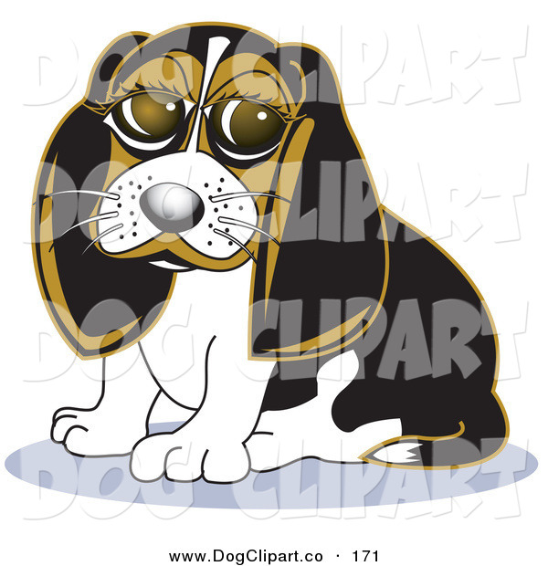 Vector Clip Art of a Cute Beagle Dog with Puppy Eyes Sitting and Looking Forward