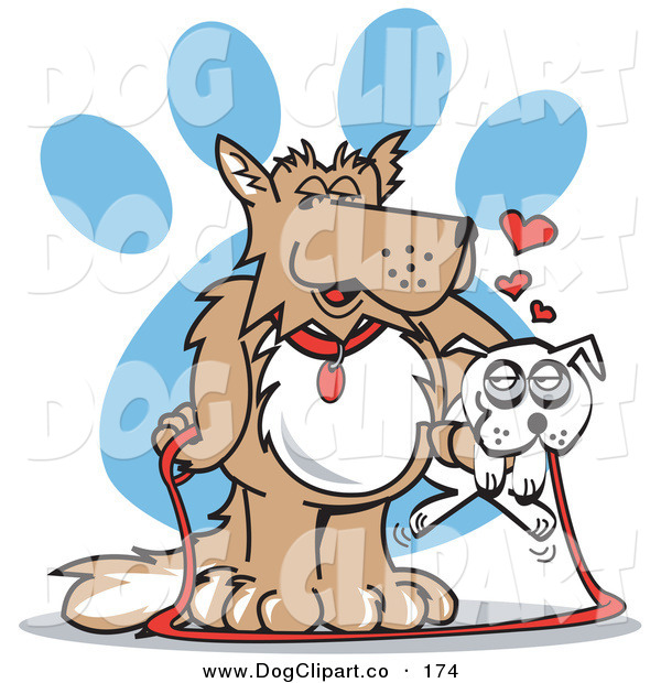 Vector Clip Art of a Cute Big Brow Dog Carrying a Little White Dog on a Leash