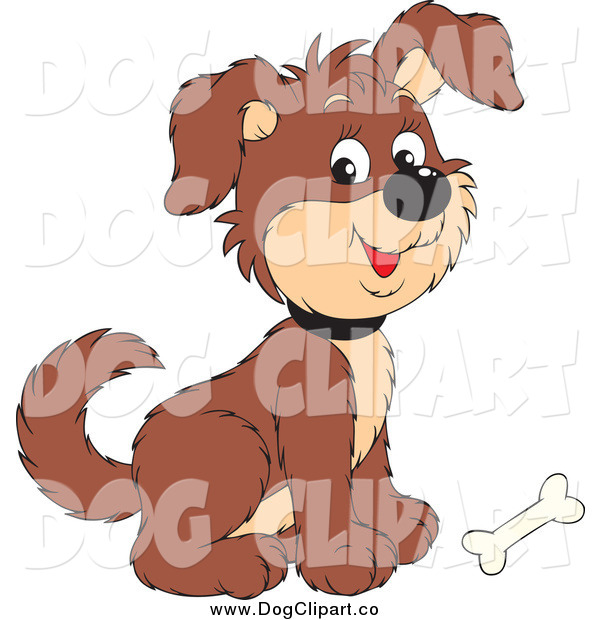 Vector Clip Art of a Cute Brown Puppy Dog with a Bone at His Feet