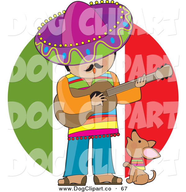 Vector Clip Art of a Cute Little Brown Chihuahua Puppy Dog Wearing a Colorful Bandana