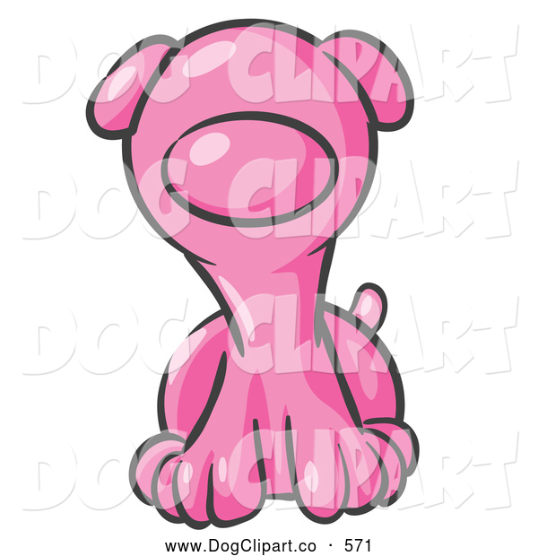 Vector Clip Art of a Cute Pink Puppy Dog Looking Curiously at the Viewer on White