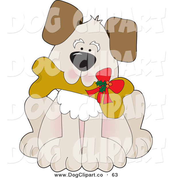 Vector Clip Art of a Cute Puppy Dog Carrying a Dog Biscut with a Christmas Bow on It on White