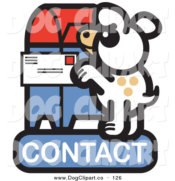 Vector Clip Art of a Cute White Dog Standing on His Hind Legs to Mail a Letter on a Contact Internet Web Icon