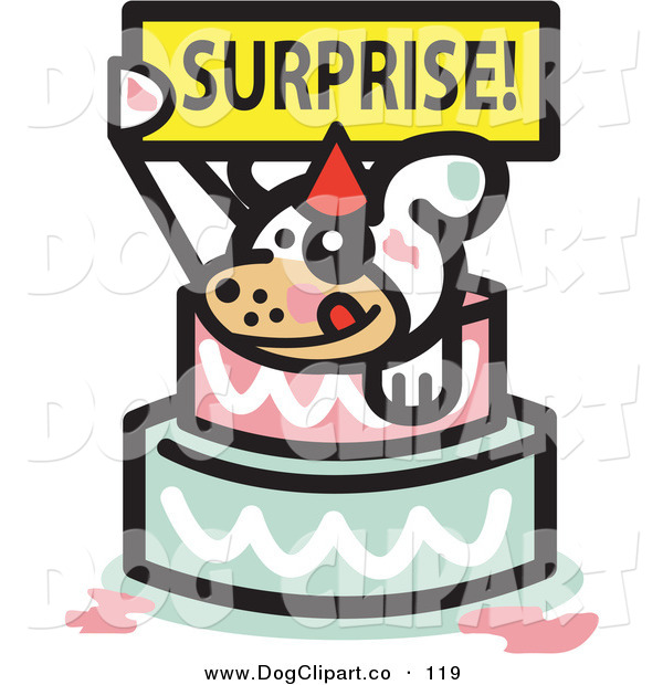 Vector Clip Art of a Cute White Pet Dog Holding a Surprise Sign and Popping out of a Birthday Cake on White