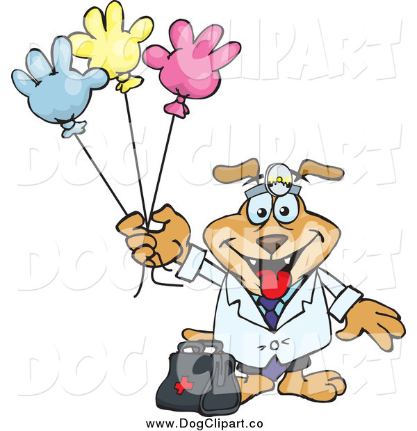 Vector Clip Art of a Doctor Dog with Colorful Hand Shaped Balloons