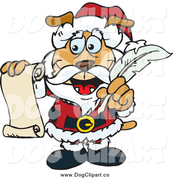 Vector Clip Art of a Dog Santa Holding a List and Quill