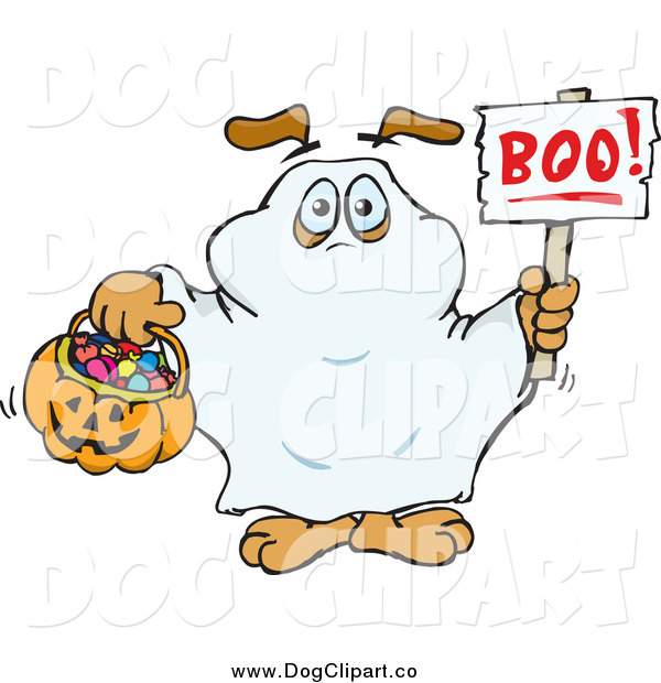 Vector Clip Art of a Dog Trick or Treating As a Ghost and Holding a Boo Sign