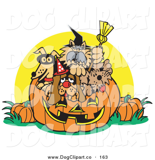Vector Clip Art of a Dogs Inside a Jack O Lantern Pumpkin on Halloween