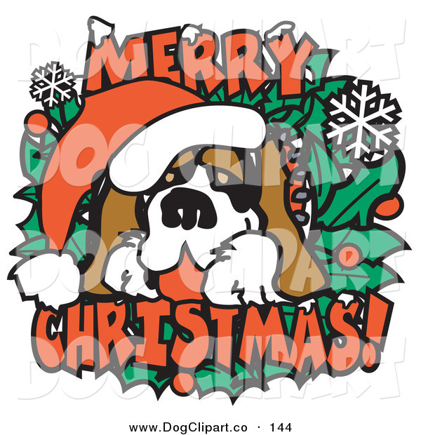 Vector Clip Art of a Festive Christmas Saint Bernard Dog Wearing a Santa Hat