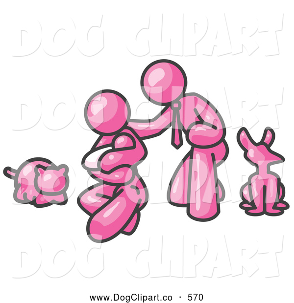 Vector Clip Art of a Friendly Pink Family, Father, Mother and Newborn Baby with Their Dog and Cat