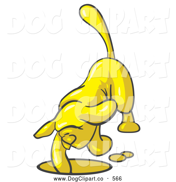 Vector Clip Art of a Friendly Yellow Tick Hound Dog Digging a Hole