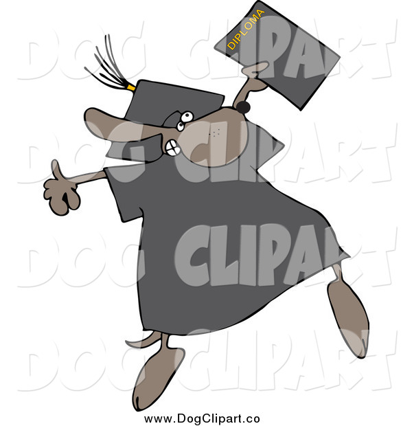 Vector Clip Art of a Graduate Dog Jumping with a Diploma
