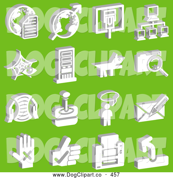 Vector Clip Art of a Group of 16 White Technology Icons on Green
