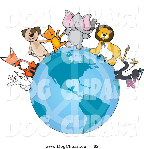 Vector Clip Art of a Group of Happy Animals Standing on the Earth with a Faded Peace Symbol, Standing for Peace on Earth