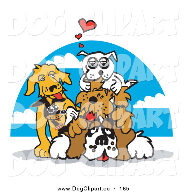 Vector Clip Art of a Group of Happy Dogs Piling on Top of a St Bernard