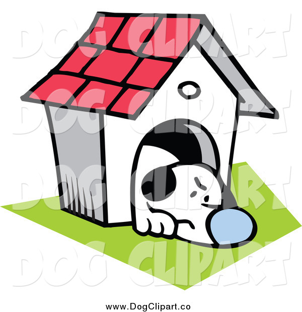 Vector Clip Art of a Grumpy Dog in His House