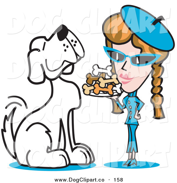 Vector Clip Art of a Happy and Big Spoiled White Dog Waiting As a Woman Serves Him a Tray of Dog Bone Biscuits