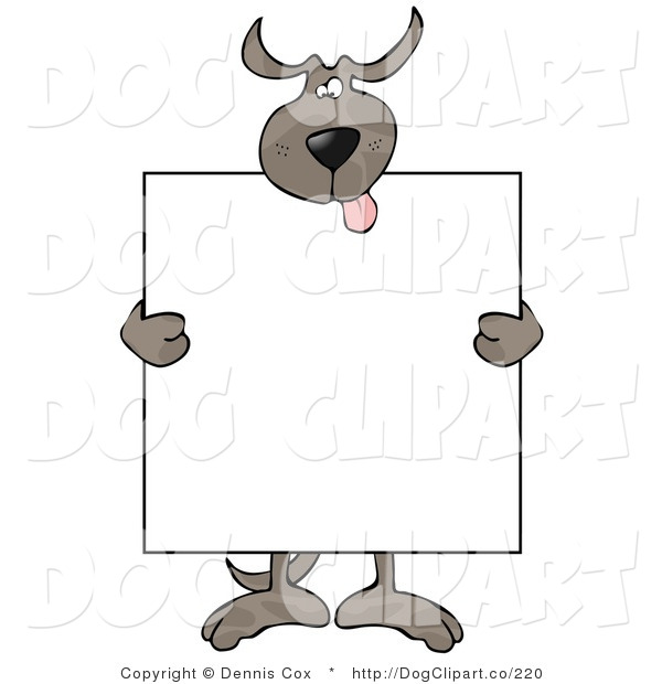 Vector Clip Art of a Happy Brown Dog Holding a Blank Sign