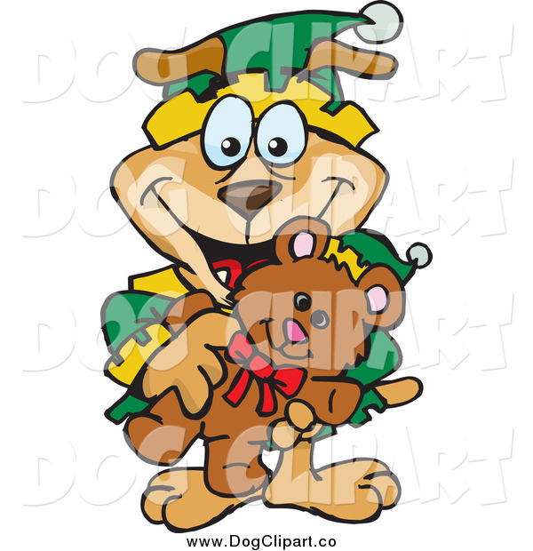 Vector Clip Art of a Happy Dog Elf Holding a Christmas Teddy Bear