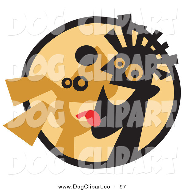 Vector Clip Art of a Happy Dog Licking a Man's Face in a Circle