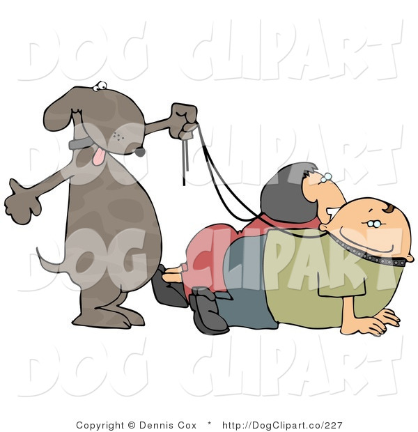 Vector Clip Art of a Happy Dog Walking His Two Pet Owners on Leashes