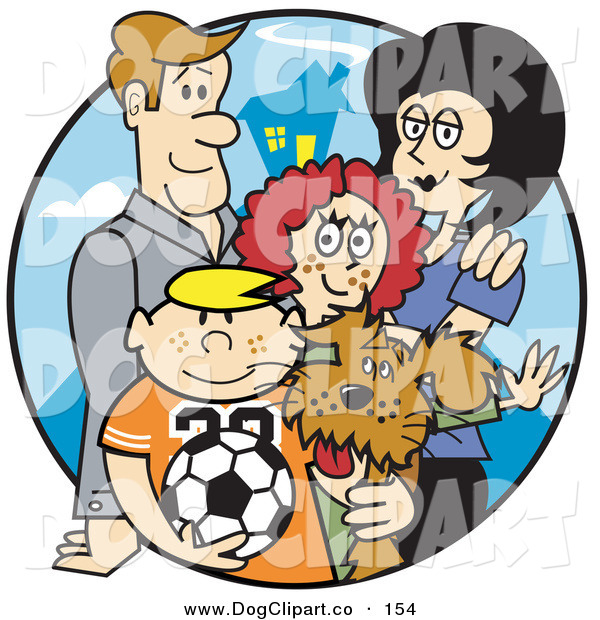 Vector Clip Art of a Happy Family of 4 with a Dog and a Soccer Ball