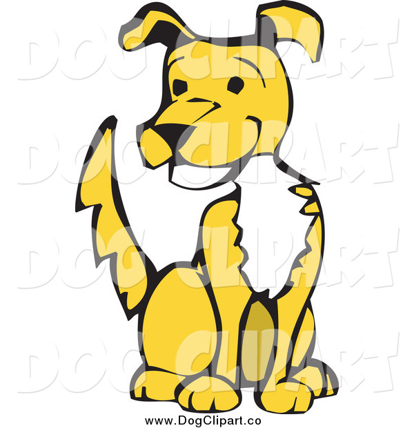 Vector Clip Art of a Happy Yellow Dog Sitting and Wagging His Tail