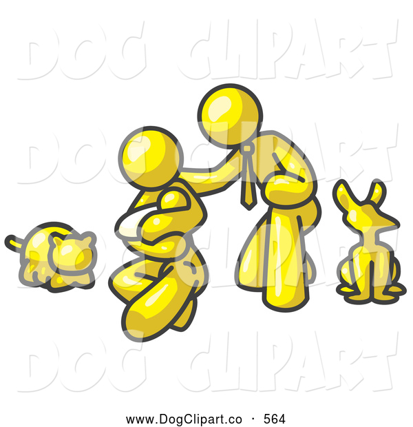 Vector Clip Art of a Happy Yellow Family, Father, Mother and Newborn Baby with Their Dog and Cat