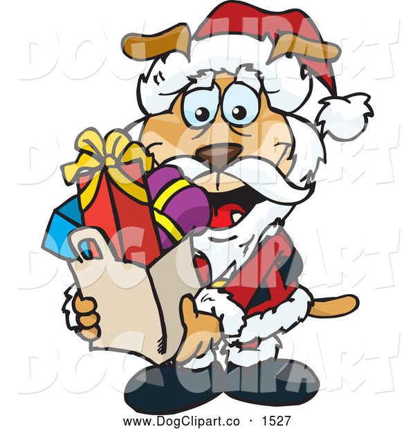 Vector Clip Art of a Jolly Christmas Sparkey Dog Santa Carrying a Bag Full of Presents