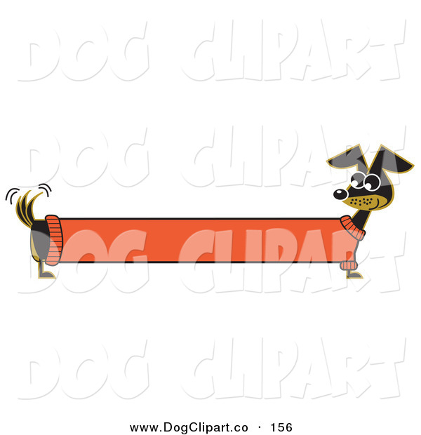 Vector Clip Art of a Long Stretched Black Dachshund Dog in an Orange Sweater, Appearing to Be a Banner