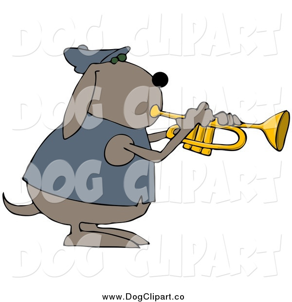 Vector Clip Art of a Musical Dog Playing a Trumpet