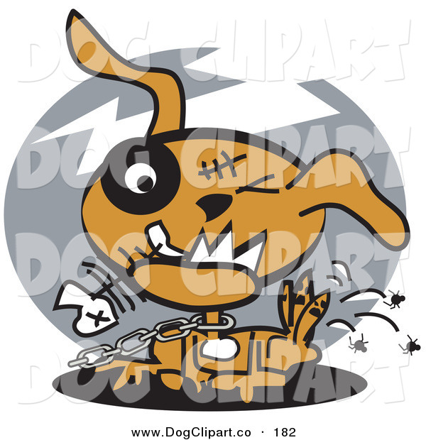 Vector Clip Art of a Neglected Brown Dog on a Chain, Eating Fishbones and Itching Fleas on Gray