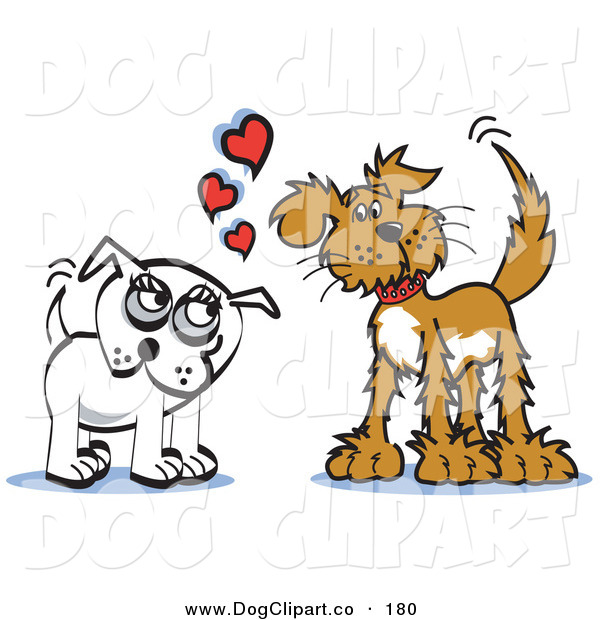 Vector Clip Art of a Pair of Brown and Infatuated Dogs Staring at Eachother and Wagging Their Tails