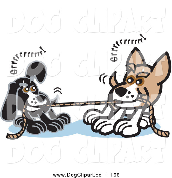 Vector Clip Art of a Pair of Dogs Growling While Playing Tug of War with a Rope