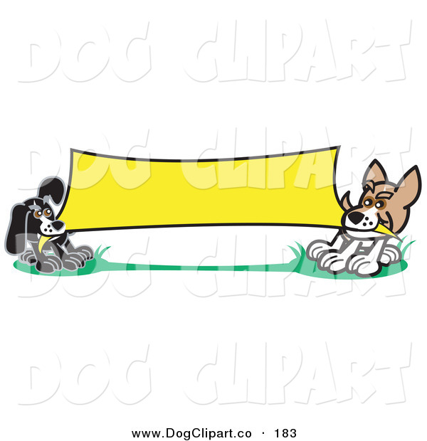Vector Clip Art of a Pair of Small Dogs Playing Tug of War with a Blank Yellow Banner Clipart Illustration