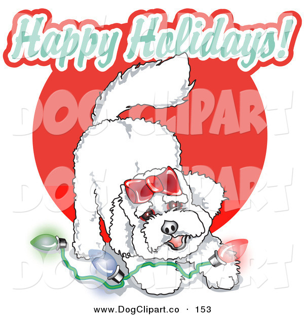 Vector Clip Art of a Playful White Bichon Frise Dog with Christmas Lights