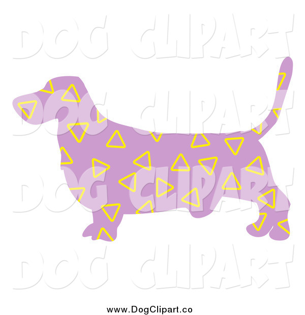 Vector Clip Art of a Purple Basset Hound Dog with Yellow Triangle Patterns