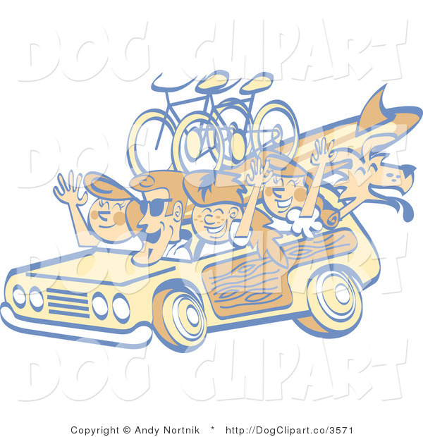 Vector Clip Art of a Retro Family Taking Woody Car and Dog to the Beach