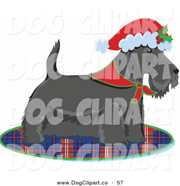 Vector Clip Art of a Scottie, Scottish or Aberdeen Terrier Puppy Dog Wearing a Bandana and Santa Hat