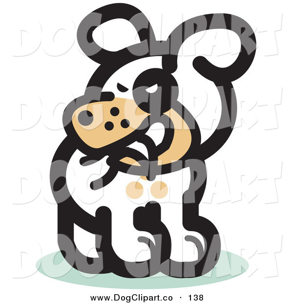 Vector Clip Art of a Silly White Pet Dog Biting His Own Tail