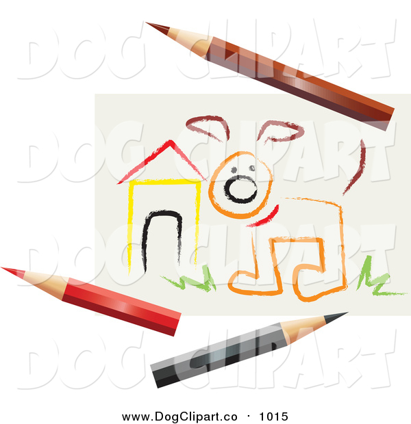 Vector Clip Art of a Sketch of a Dog by a House, with Colored Pencils