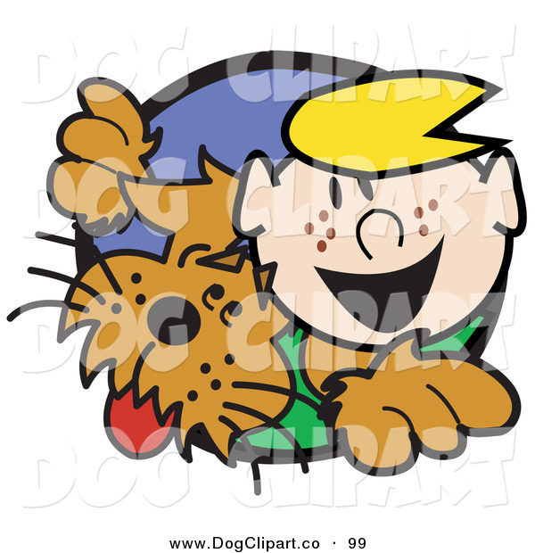 Vector Clip Art of a Smiling and Happy Blond Haired Freckle Faced Boy Peering Through a Hole with His Brown Dog