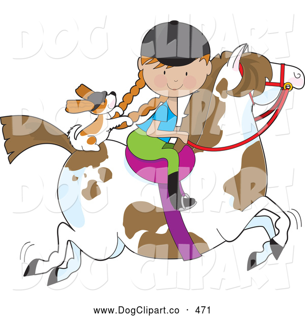 Vector Clip Art of a Smiling Little Girl Riding a Painted Pony with a Cavalier King Charles Spaniel Sitting Behind Her, Holding on to Her Braids