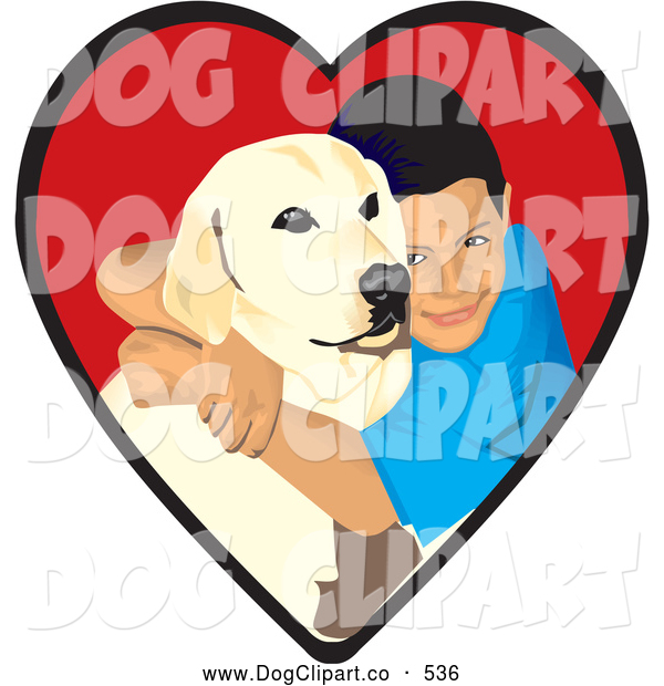 Vector Clip Art of a Smiling Loving Boy Hugging His Yellow Labrador Retriever Dog in a Red Heart