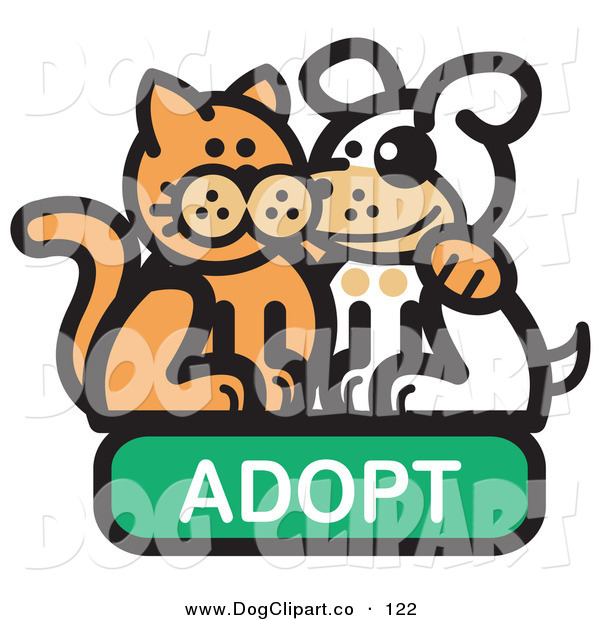 Vector Clip Art of a Smiling Orange Cat with His Arm Around a Cute White Dog on an Adopt Internet Web Icon
