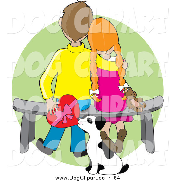 Vector Clip Art of a Sweet Boy Sitting on a Bench Beside His Red Haired Girlfriend Who Is Resting Her Head on His Shoulder As a Dalmation Puppy Sniffs a Box of Chocolates